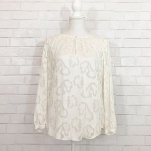 Rebecca Taylor White Sheer Floral Blouse